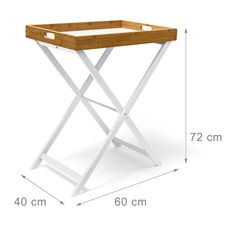 Relaxdays 10019176 - Mesa auxiliar plegable, bambú, color blanco y natural: Amazon.es: Hogar Folding Furniture, Space Saving Furniture, Bar Furniture, Tea Table Design, Box Shelves, Woodworking Basics, Wood Tray, Living Room Decor, Ikea