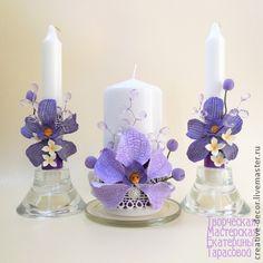 """Свадебные свечи """"Орхидея Ванда"""" - фиолетовый,орхидея Ванда,белый,свадебные свечи"""