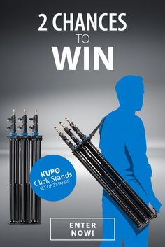 Enter to win a set of 3 Kupo Click Stand Sets (3 stands each). With their unique design, click stands hook together with just a snap. Super easy to transport or store, these stands are ideal for location or studio.