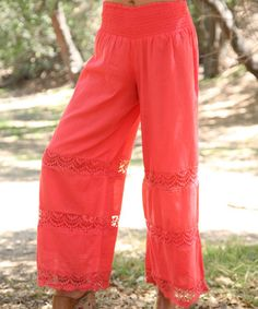 Look what I found on #zulily! Coral Crochet Palazzo Pants - Women #zulilyfinds