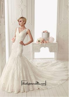 Alluring Tulle with Dots & Satin & Organza Mermaid V-neck Neckline Tank Sleeves Floor-length Wedding Dress with Lace Appliques