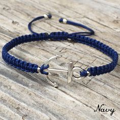 Small Anchor Bracelet , Adjustable Cord Macrame Friendship Bracelet