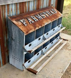 A unique repurposed chicken nesting boxes! The farmstead lettering is magnetic so you can place the letters any way you like. The decorative small chalkboards under each box are great for labeling wit Chicken Feeder Decor, Diy Chicken Coop, Chicken Feeders, Urban Farmhouse, Farmhouse Wall Decor, Shoe Storage Porch, Chicken Nesting Boxes, Nesting Boxes For Chickens, Small Chalkboard