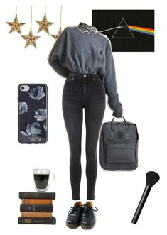 black everything by angelinaluise on Polyvore featuring Mode, Topshop, Dr. Martens, Fjällräven, Kate Spade, NARS Cosmetics, GET LOST, grey, autumn and polyvoreeditorial