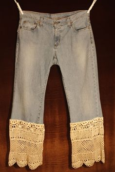 Jeans and Lace - or split the legs horizontally and add just a strip of lace