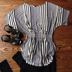 Cyrus Stripe Tunic sz M Cyrus Stripe Tunic sz M. Like New Condition! Such a flattering look and a great amount of stretch. Love the different stripe details. Cyrus Tops Tunics