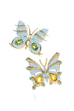 Tiffany & Co. Schlumberger® Butterfly clips in 18k gold with diamonds, from top: with peridots and with sapphires and turquoise. #TiffanyPinterest