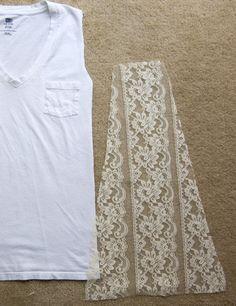 Como customizar camiseta regata com lateral de renda - Dica rápida e fácil para um look super sexy e delicado ~ VillarteDesign Artesanato