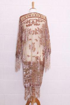 Vintage nude floral Silk velvet Devore Tassel fringe scarf jacket kimono S M L