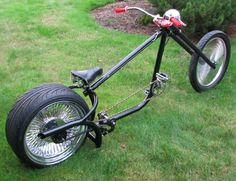 """So, I ordered your plans for the Overkill chopper over a year ago. But I finished it. I think you might be impressed. I kind of deviated . Bike Chopper, Trike Scooter, Lowrider Bicycle, Velo Vintage, Push Bikes, Drag Bike, Cruiser Bicycle, Bike Frame, Mini Bike"