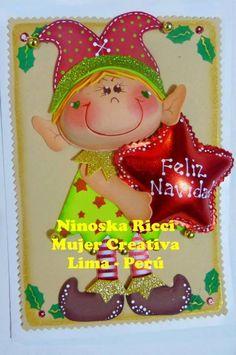 Moldes Tarjeta Navideña con Duende Una hermosa tarjeta navideña con duende en goma eva, compartido por Ninoska Ricci, Mujer Creativa