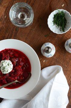 Top View of Borscht Recipe (Russian-Style Beet Soup) Beet Soup, Soup And Salad, Russian Recipes, Italian Recipes, Borscht Recipe, Spring Soups, Healthy Summer Recipes, Easy Soup Recipes, Beet Recipes