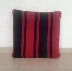 20x20 LARGE Striped Red Turkish Kilim Pillow Cover by pillowsstore, $58.00