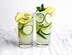 Refreshing Drinks, Summer Drinks, Cucumber Lemonade, Mint Plants, Basil Plant, Juicing Benefits, Cocktail Recipes, Cocktails, Non Alcoholic Drinks