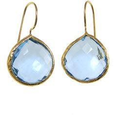 Blue Quartz Gemstone Gold Bezel Earrings Dangle Drop Earring December... ($75) ❤ liked on Polyvore featuring jewelry, earrings, drop dangle earrings, dangling jewelry, gem earrings, teardrop jewelry and gemstone jewelry