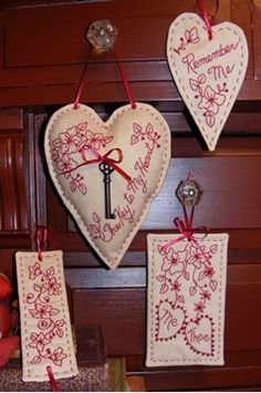 Key To My Heart RedWork from Bird Brain Designs