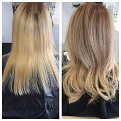 We toned down this very blonde hair to a softer sandier blonde which has given this client the ultimate low maintenance and more natural looking colour