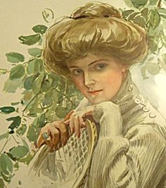 $88 Large Antique Tennis Lady Edwardian Art Print - Harrison Fisher from 1910.