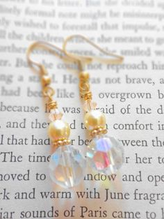 Vintage Glass Crystal Earrings with Glass by SecondEditionJewelry, $25.00