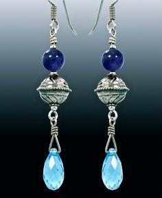 Amethyst, sterling & Swarovski earrings