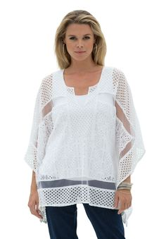 "The lace kaftan plus size blouse by denim 24/7® has flowing sleeves and lovely lace.  split scoop neckline creates an edgy shape kaftan sleeves leave lots of room for movement lace and sheer fabric inset hankie hem points drop to about 26"""" for plenty of coverage lace detail add an alluring touch cotton/nylon, machine wash, imported  Plus size blouses, tunics, tees, tops - lace kaftan blouse by denim 24/7®, sizes 12W-32W In Style Now!Pair this lace blouse with contrasting..."