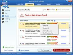 Klik om te vergroten WinZip Driver Updater Scan Results scherm