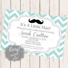 Custom Boy Baby Shower Invitation  Digital Download by PLPrints  Paper & Party Supplies  Paper  Invitations & Announcements  Invitations  teal chevron  mustache  boy  baby shower boy shower  baby  baby boy  vintage  rustic  printable  custom  download