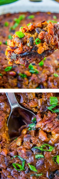 Bacon Baked Beans from The Food Charlatan // These beans are so easy to make and serve a crowd! Plus: bacon. Side Dish Recipes, Side Dishes, Dinner Recipes, Baked Beans With Bacon, My Favorite Food, Favorite Recipes, Baked Bean Recipes, Dinner Dishes, Different Recipes