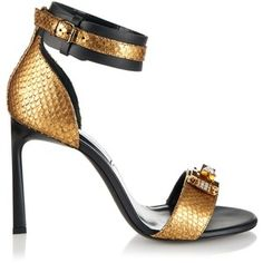 Lanvin Metallic python and leather sandals❣