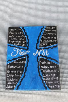 Fear Not Cross Painting with scripture Scripture Art, Bible Verses, Bible Quotes, Scriptures, Cross Paintings, Religious Paintings, Art Projects, Projects To Try, My Canvas