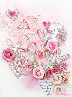 Valentine's canvas layout using Pink Paislee chipboard resist hearts