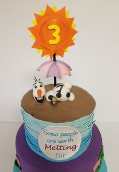 Frozen Cake, Some People are Worth Melting For with Elsa, Anna and Olaf. A cake for a special Frozen Themed Birthday Party