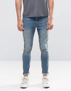 Image 1 of ASOS Super Skinny Jeans In 12.5oz In Light Blue