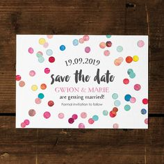 Beautiful watercolour confetti save the date card on our luxury textured card, or as a high quality save the date magnet.Ordering: Once you have ordered - please send us all your wording via the messaging system, and we will produce some drafts for your review. Choose from a white or chalkboard background, and even choose 2 colours to form the dominant confetti colours to tie them in with the colour scheme of your wedding day. As each item is custom made by us, we can produce almost…