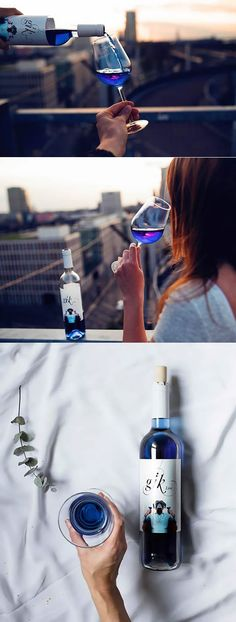 Spanish startup #wine companies Gik made some thing new in wine market, the blue wine! As long as it is wine, I'm totally fine with it. The question is, what kind of meal go with this blue wine? Smurf's meat?