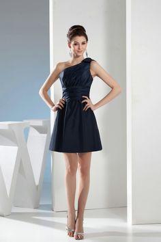 One Shoulder A Line Satin Navy Blue Short Prom Dresses