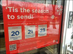"""Even the United States Postal Service lays on the Holiday cheer with a tag lines like """"Tis The Season to… United States Postal Service, Retail Merchandising, Tis The Season, Priorities, Projects To Try, Seasons, Hanukkah, Sign, Christmas"""