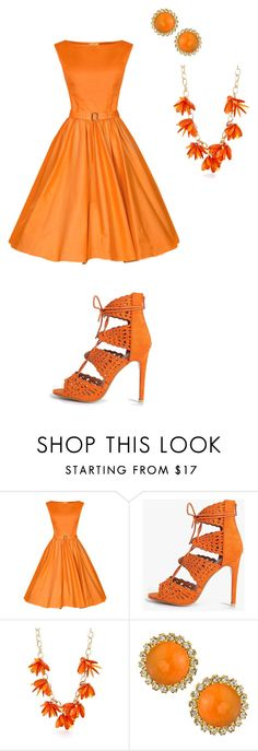 """""""Orange"""" by bassclarinet2 on Polyvore featuring Boohoo, New Directions and Liz Palacios"""
