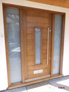 Contemporary Front Doors, oak iroko and other woods, Bespoke Doors Modern Entrance Door, Modern Front Door, House Entrance, Entrance Doors, Oak Front Door, Front Door Design, Grey Doors, Oak Doors, Oak Door Frames