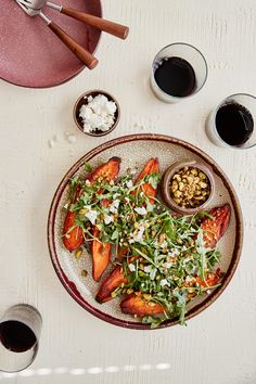 Oven-baked sweet potatoes topped with a simple arugula salad with miso-citrus dressing and a pistachio-sesame mix for crunch. Food Expo, Raw Pistachios, Whole Food Recipes, Dinner Recipes, Arugula Recipes, Vegetarian Recipes, Healthy Recipes, Vegetarian Dinners, California Food