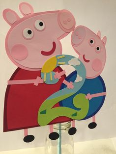 Peppa pig  and George with number cake topper, cake decoration by Craftophologie on Etsy https://www.etsy.com/listing/255316241/peppa-pig-and-george-with-number-cake
