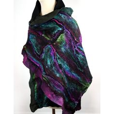 Hand felted and hand dyed large silk and wool scarf. Made using nuno felting technique - technique that combined 100% silk fiber and Superfine Merino wool