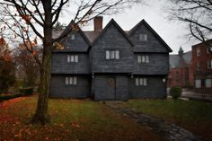 The restored Witch House, Home of Jonathan Corwin, c. 1675, Salem, Essex County, Massachusetts, the only structure still standing in Salem with direct ties to the Witchcraft Trials of 1692.