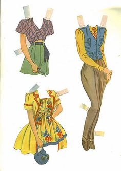 3 Wood Dolls paper dolls / Ebay