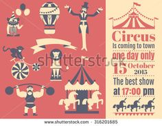 Vintage circus collection with carnival, fun fair, vector icons and background and illustration.