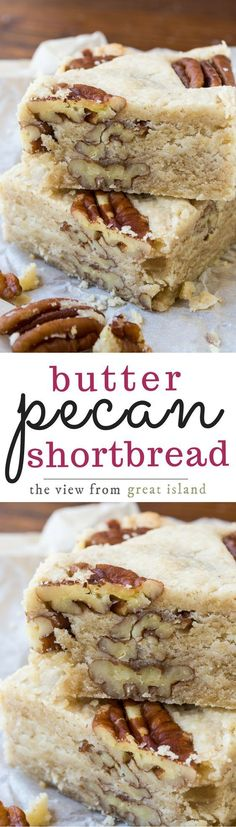 Pecan Shortbread Butter Pecan Shortbread is a classic buttery shortbread loaded up with crunchy pecans ~ and everybody goes nuts for it!Butter Pecan Shortbread is a classic buttery shortbread loaded up with crunchy pecans ~ and everybody goes nuts for it! Desserts Keto, Cookie Desserts, Just Desserts, Cookie Recipes, Delicious Desserts, Dessert Recipes, Yummy Food, Pecan Recipes, Bar Recipes