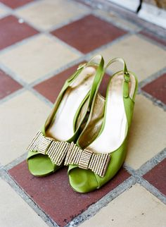 Bright green heels with a sparkly bow