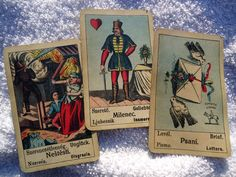 Three Gypsy Fortune Telling Cards: Misfortune, Lover, Letter