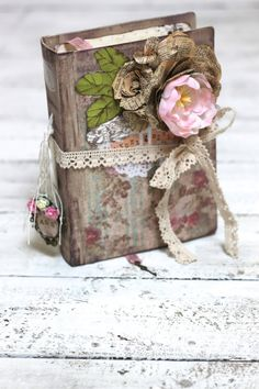 Wedding guest book Cottage Paper Rose wedding by LotusBluBookArt, £85.00