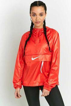 Nike - Coupe-vent rouge avec logo virgule et patte zippée
